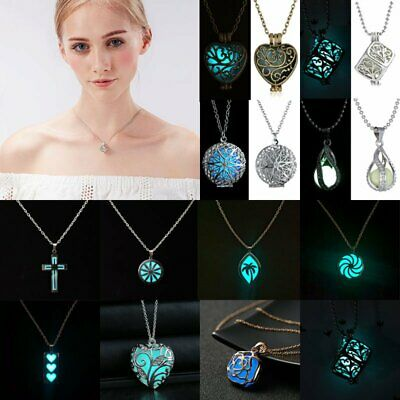 Magic Luminous Steampunk Pretty Fairy Locket Glow In The Dark Pendant Necklace
