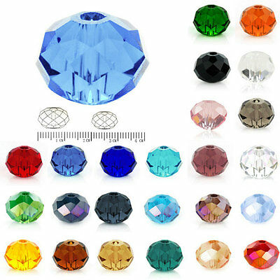 72pcs New Crystal Rondelle Loose Spacer Beads Fit DIY Jewelry 10mm 12mm