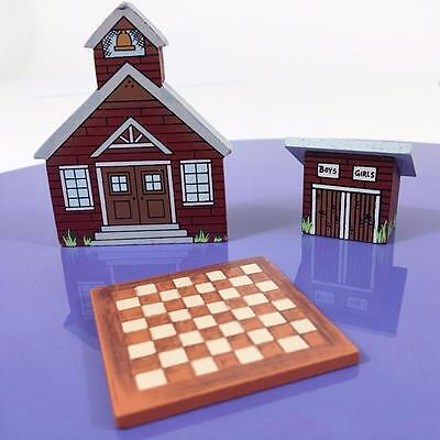 Dollhouse Miniature Vtg Tender Heart Treasures 3 pc Lot School Outhouse Checkers