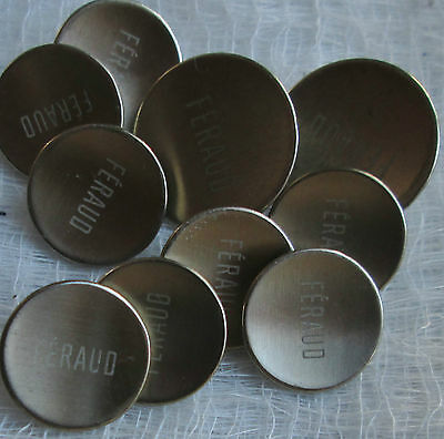Feraud  light silver metal buttons with logo (set of 10)  for blazer/suit