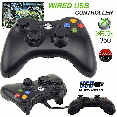Wired USB Game Pad Controller Black For Microsoft Xbox 360 PC Windows 7 8 10 XP