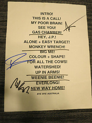 Foo Fighters Original Used Setlist! 1996 Tour Dave Grohl Nirvana