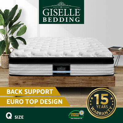 Giselle Bedding QUEEN Size Bed Mattress Euro Top Pocket Spring Foam 31cm