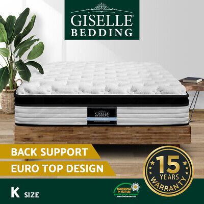 KING Mattress Bed Size Euro Top 5 Zone Pocket Spring Density Foam 31cm NEW