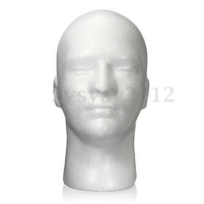 Male Polystyrene Model Mannequin Dummy Wigs Cap Head Stand Display Holder UK