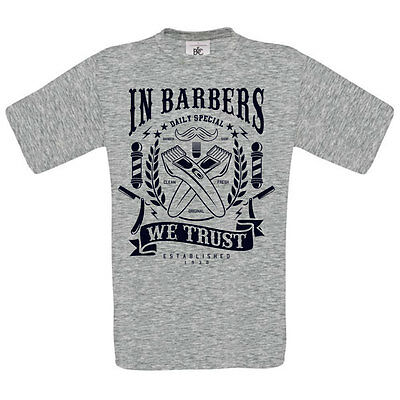 IN BARBERS WE TRUST DTG. full colour t SHIRT