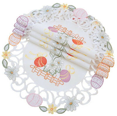 Xia Home Fashions Country Egg Embroidered Cutwork Round Easter Placemat Set of 4