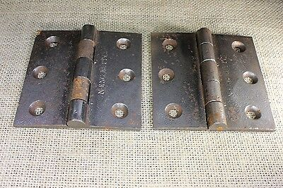 "2 DOOR BUTT HINGES 3 1/2 X 3 1/2"" 1880's vintage old cast iron N ENG BUTT"