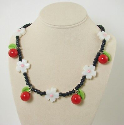 "Vintage CHERRIES Plastic Cherry Blossom Bead Necklace 20"" Pinup Jewelry"