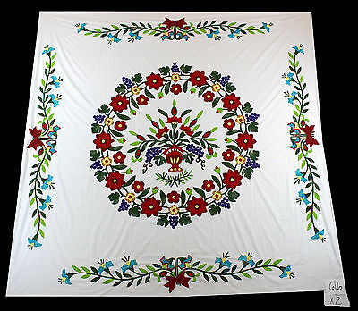Unique Floral Hand Applique QUILT TOP - Perfect to showcase your quilting skills