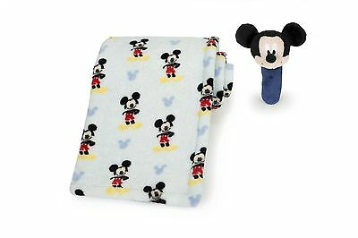 Disney Baby Mickey Mouse Printed Boa Blanket with Rattle