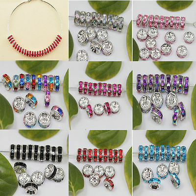 100pcs  Glass Silver Plated Spacer Loose Beads Charms Jewelry Making DIY 8mm