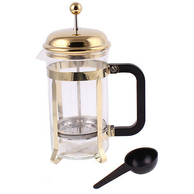 Gold Tone French Press Filter Glass Pot Teapot Coffee Tea Maker Plunger 600ml