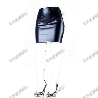 Soft PU Leather Mini Dress Spanking Skirt Open Hip Sexy Lingerie