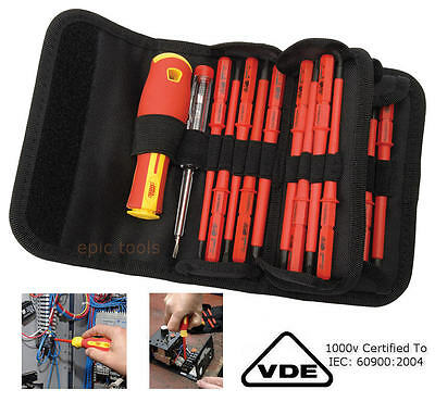 Draper 18 Pce VDE Pz / Ph / Sl Isolé Interchangeables Lame Set de Tournevis