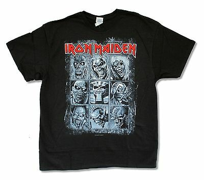 Iron Maiden 9 Faces of Ed Album Covers Mens Black T Shirt New Official Band