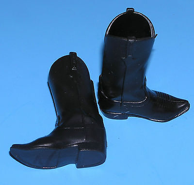 OOP Cowboy Lawman Black boots fit 12inch figure Western vinyl shoes fit Ken doll