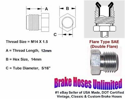 """MALE TUBE NUT - M14 x 1.5, Double Flare, 5/16"""" Line"""