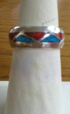 Sterling Silver Ring With Turguoise & Carnelian Size 8