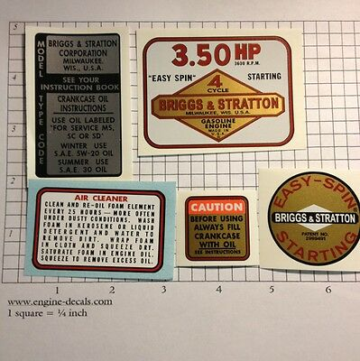 Briggs & Stratton 3.50-hp Decal Set of 5 For Mini Bike, Go Kart, I/C