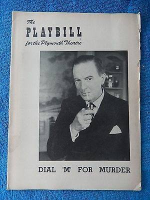 Dial 'M' For Murder - Plymouth Theatre Playbill - May 25th, 1953 - Maurice Evans