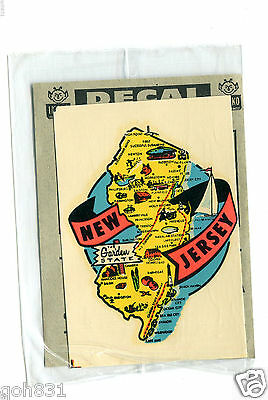 Vintage Decal NEW JERSEY Garden State map unused sealed