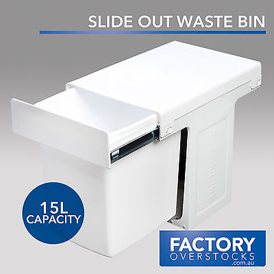 15L Slide Out Waste Bin - Pull Out Kitchen Rubbish Garbage