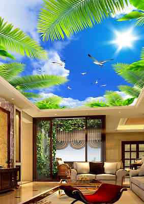 3D Palm and Sky Ceiling WallPaper Murals Wall Print Decal Deco AJWALLPAPER