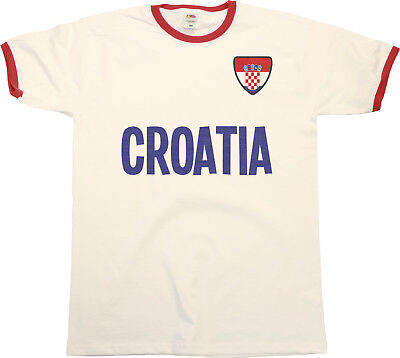 Mens CROATIA Football T-Shirt WORLD CUP 2018 Russia Country name Retro Flag