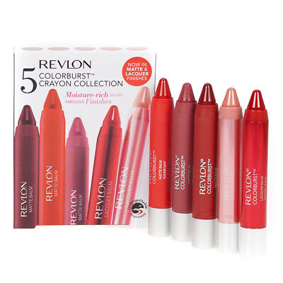 Revlon 5 Color Burst Crayon Set Moisture Rich Chunky Lip Balm Stain Gift For Her