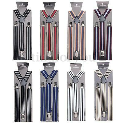 Unisex Men Women Clip-On Braces Striped Suspenders Elastic Y-Shape Adjustable