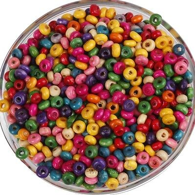1000Pcs Colorful Rondelle Wood Spacer Beads Loose Beads Charms HQ 4mm