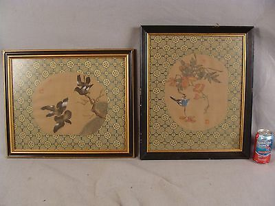Pair vintage Chinese signed w/c  paintings on silk w/ birds framed