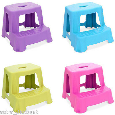 2-Step Stool Children Kids Toilet Kitchen Bathroom Pink Green Purple Blue