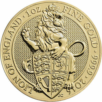 ON SALE! 2016 1 oz British Gold Queen's Beast Lion Coin (BU)