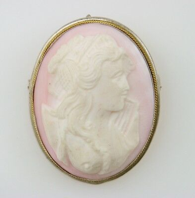 Vintage PINK Carved Cameo BEAUTIFUL Woman 800 SILVER Pendant Brooch Pin Jewelry