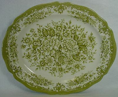 MEAKIN, J & G china AVONDALE GREEN pattern Oval Serving Platter @ 12""