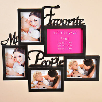 New Shabby Chic Multi Collage Family Photo Picture Frame 5 Aperture Wall Black