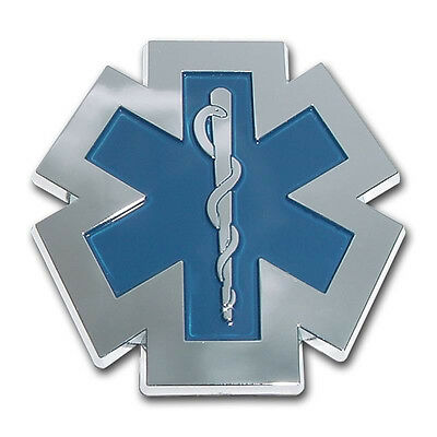 Chrome electroplated with blue accents EMT Star of Life auto vehicle emblem