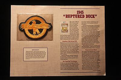 1945 Ruptured Duck Cooperstown Collection Patch w/Fact Sheet WW II MLB 1995