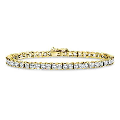 Gold Flashed Silver Tennis Bracelet Made with Swarovski Zirconia Princess
