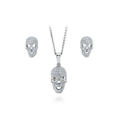 BERRICLE Sterling Silver CZ Skull Bones Fashion Necklace and Earrings Set