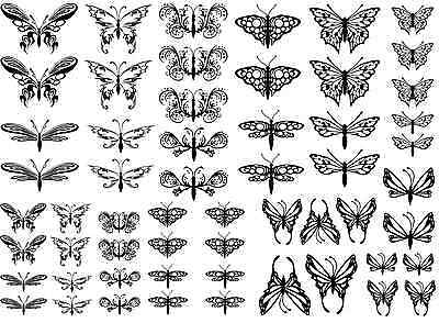 """Butterfly Dragonfly Black or White 5"""" X 7"""" Card Fused Glass Decals"""
