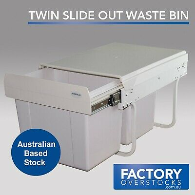 30L Twin Slide Rubbish Low Profile Waste Bin - Pull Out Kitchen Dual Compartment