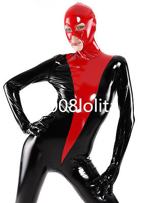 100%Latex Rubber Cool Suit Catsuit Black and Red Bodysuit Full-body Size XS~XXL