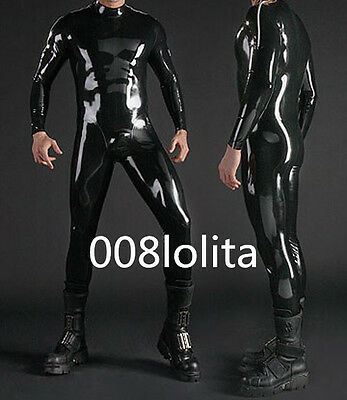 100%Latex Rubber Handsome Tights Catsuit Black Bodysuit Full-body Size XS~XXL