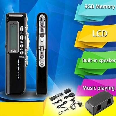 Rechargeable 8GB Digital Audio Voice Recorder USB Dictaphone MP3 Player WAV KJ