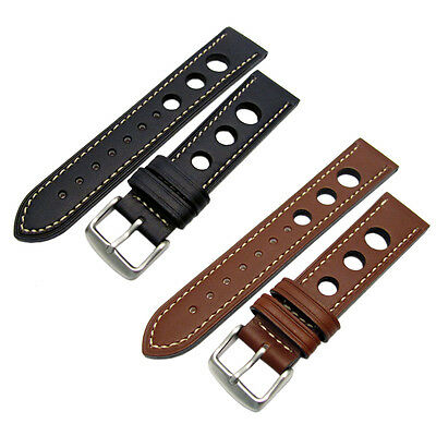 CONDOR Rally Style Genuine Leather Watch Strap White Stitching Black Brown 682R