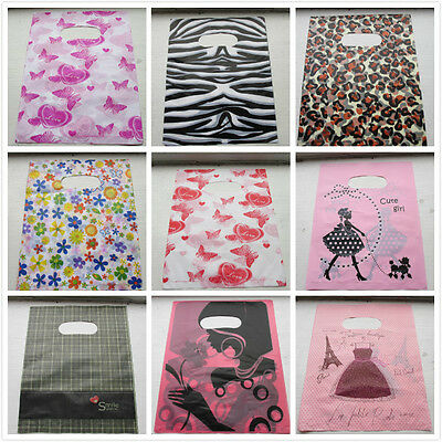 100 FASHION PLASTIC GIFT SHOP BAGS - Printed Strong Gift or Carry Bags 10 x 8""