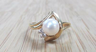 Genuine Pearl & Diamond 14KT Solid Yellow Gold Ring 3.5grams Sz 7.75 ~ 14-E1558